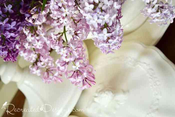 light purple lilacs and Ironstone lids