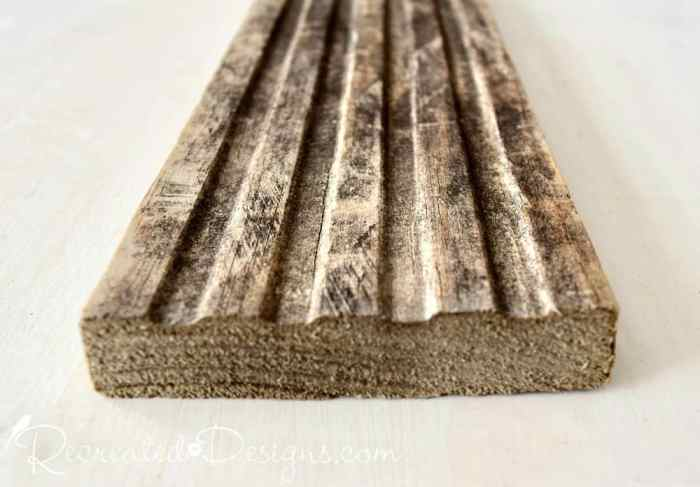 using Varathane Weathered Wood Accelerator on the end of reclaimed wood