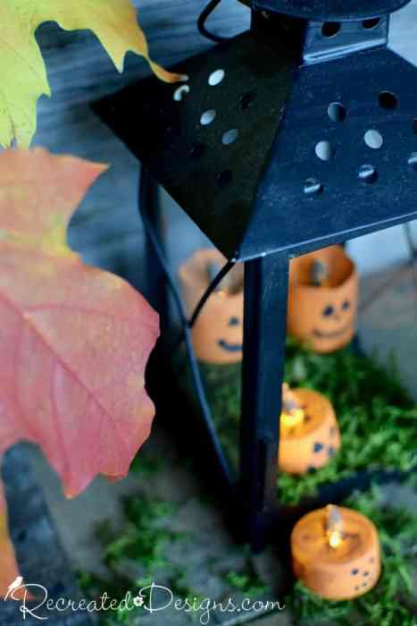 battery operated lights turned into Jack-o-Lanterns by Recreated Designs