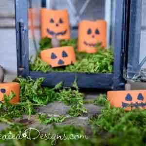 Painted tea light Jack-o-Lanterns