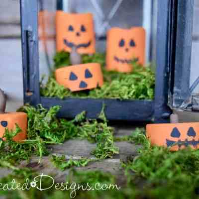 Painted tea light Jack-o-Lanterns