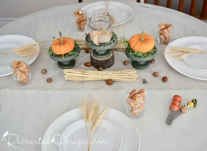 Fall table using cupcake stands for pumpkins and a candle