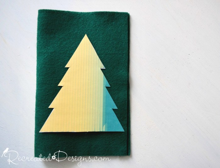 making Christmas trees out of felt using a pattern