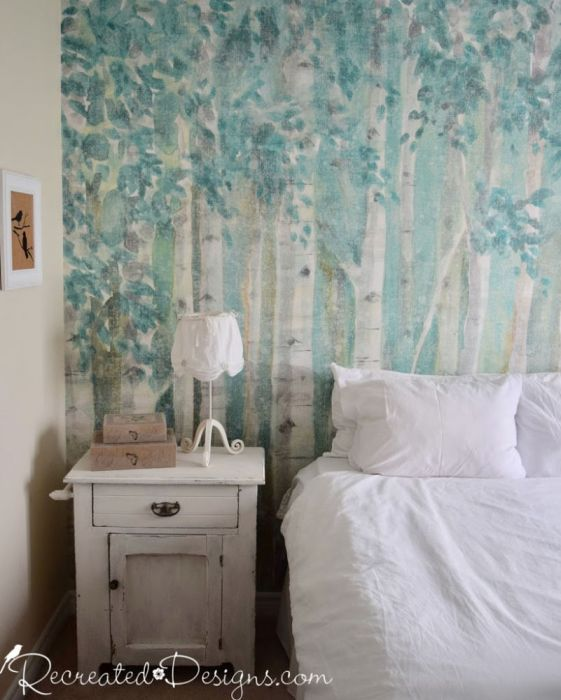 rustic bedroom with birch forest photowall mural