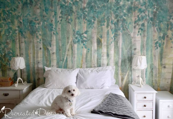 Photowall mural of birch trees and leaves