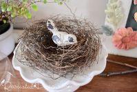 birds nest on an ironstone cake stand