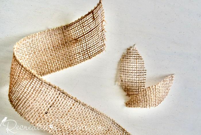 burlap ribbon cut into apple leaves