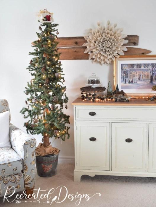 Christmas tree and vintage hutch