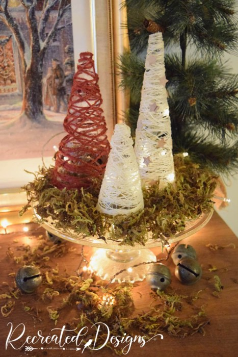 Christmas trees made from string and Mod Podge