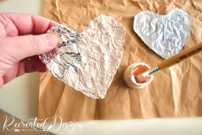 painting aluminum foil hearts