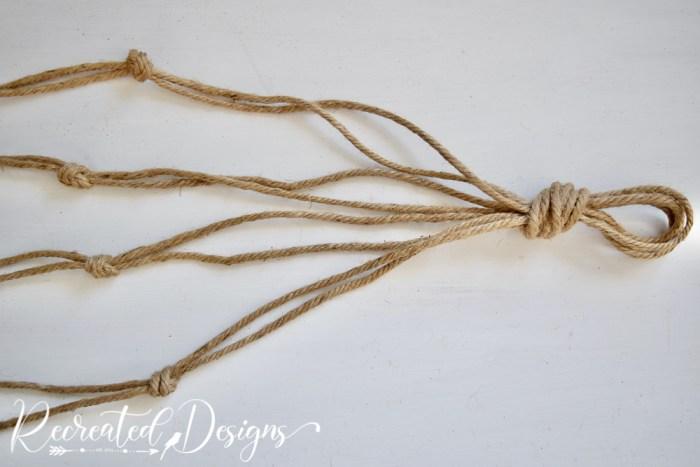 knots tied into jute twine