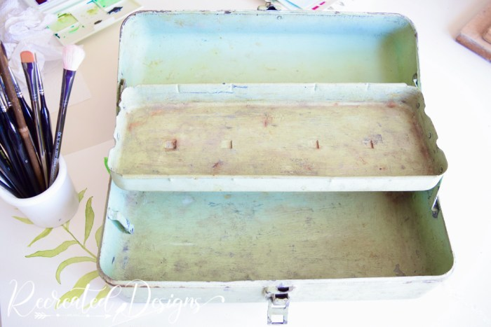 old tool box painted green