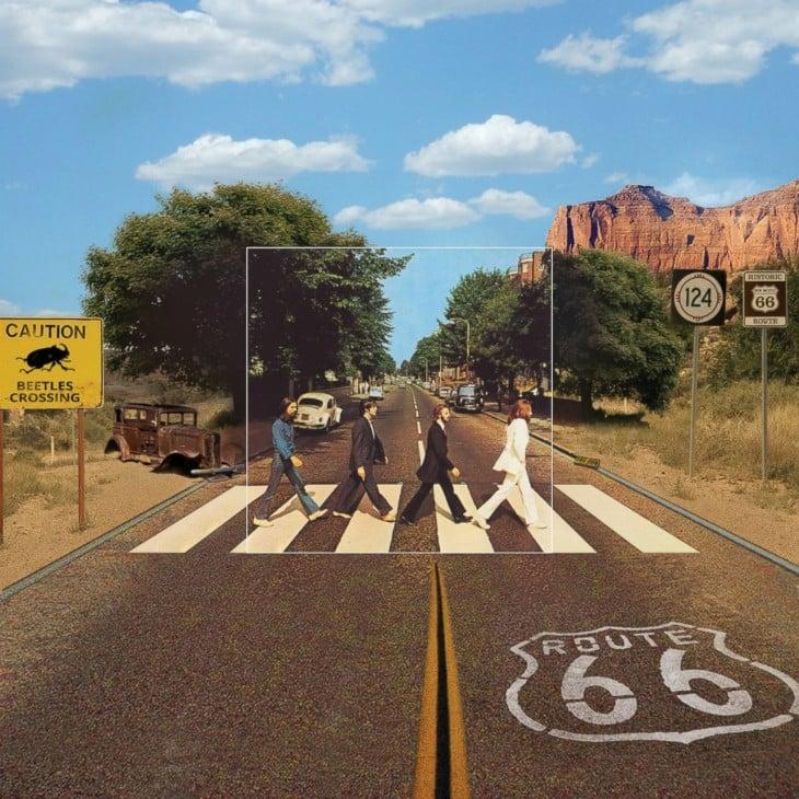 """Portada extendida del disco de The beatles """"Abbey Road"""""""