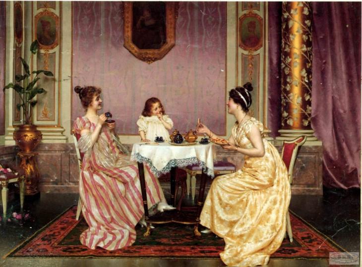 mujeres de la edad media comiendo sin cubiertos