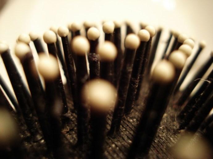 cerdas de uma escova de cabelo