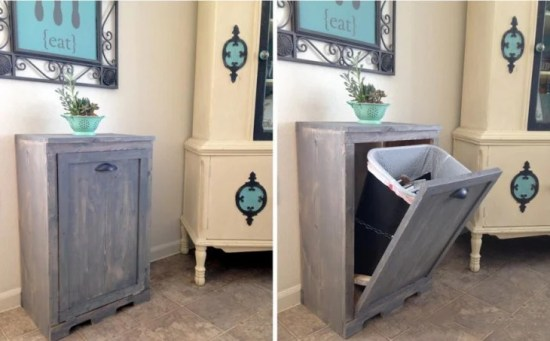 Cesto de basura dentro de un mueble en la casa