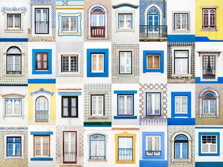 collage muestra el estilo, colore y diseños de las ventanas en Ericeira