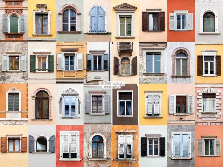 colores y formas de las ventanas en Trento por el fotógrafo portugués André Vicente Goncaves