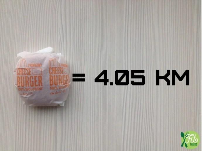 Cada hambúrguer, 4,05 km.  Sim, chiquitas