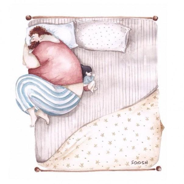 dibujo en acuarela soosh papá e hija dormidos