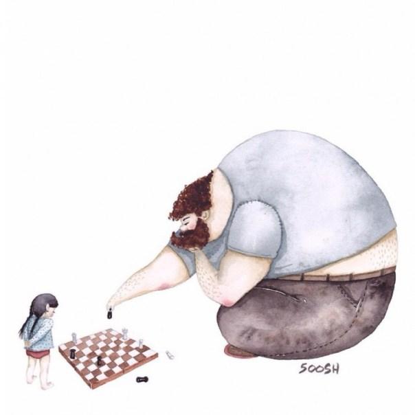 dibujo en acuarela soosh papa e hija jugando ajedrez