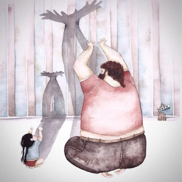dibujo en acuarela soosh papá e hija haciendo figuras con la sombra
