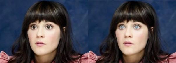 Zooey Deschanel cambio de color de ojos