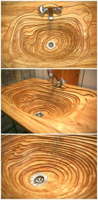lavabo que parece de madera