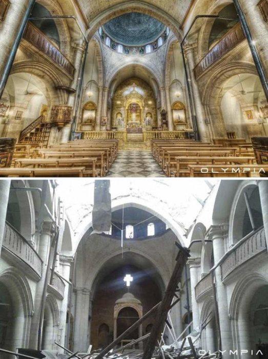 Aleppo, na Síria.  foto dentro de uma igreja antes e depois da guerra