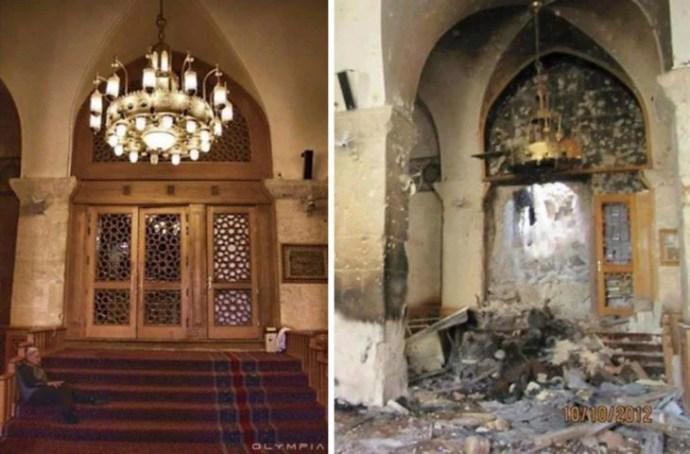 Aleppo, na Síria.  Porta com candelabros destruída