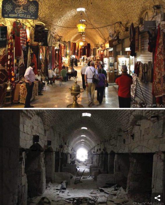 Aleppo, na Síria.  foto de um mercado antes e depois da guerra