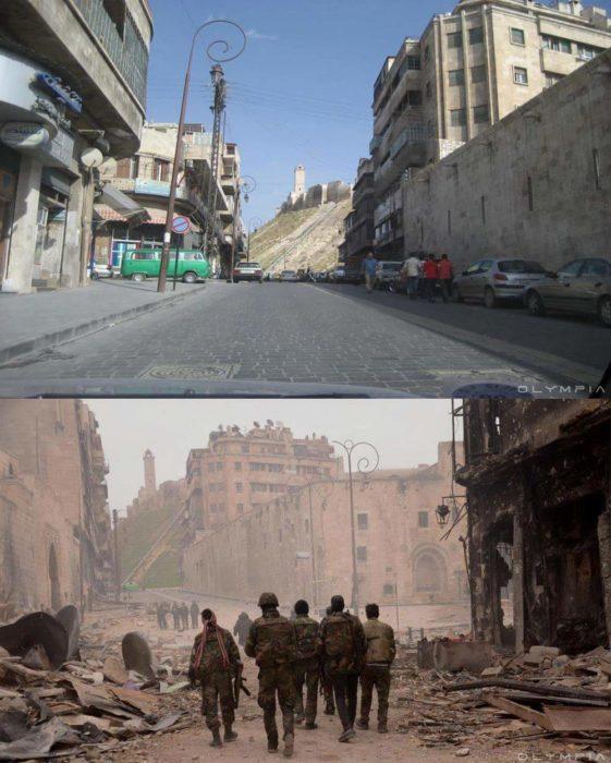 Aleppo, na Síria.  foto na rua antes e depois da guerra