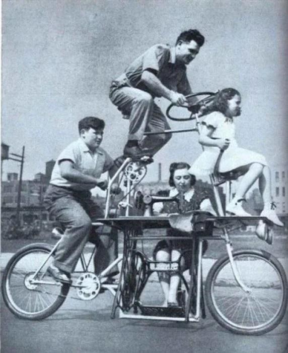 bicicleta para toda la familia vintage objetos bizarros