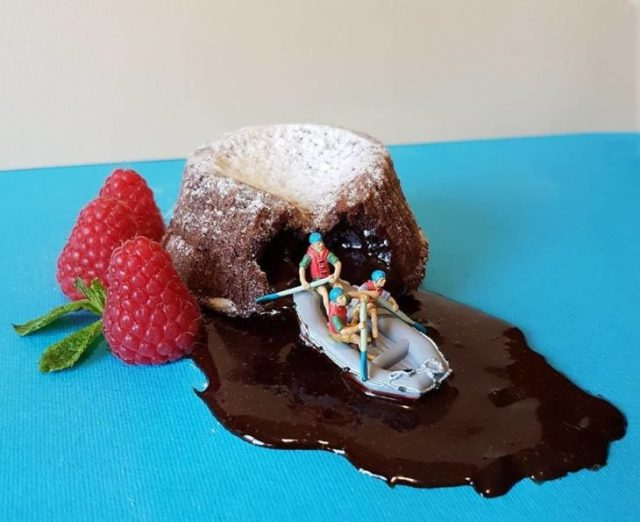 cráter chocolate postre miniatura italiano