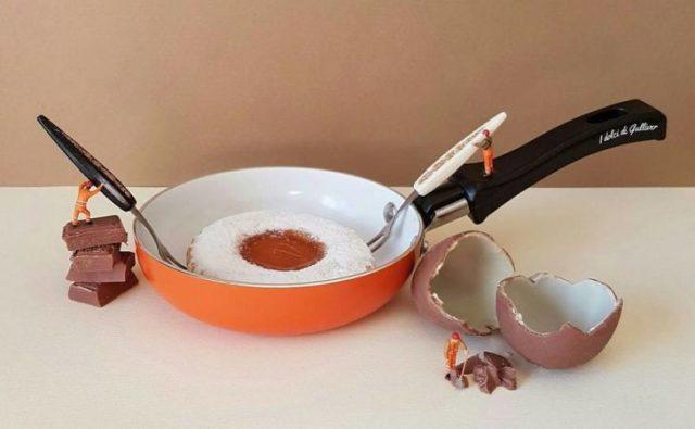 huevo frito postre miniatura italiano