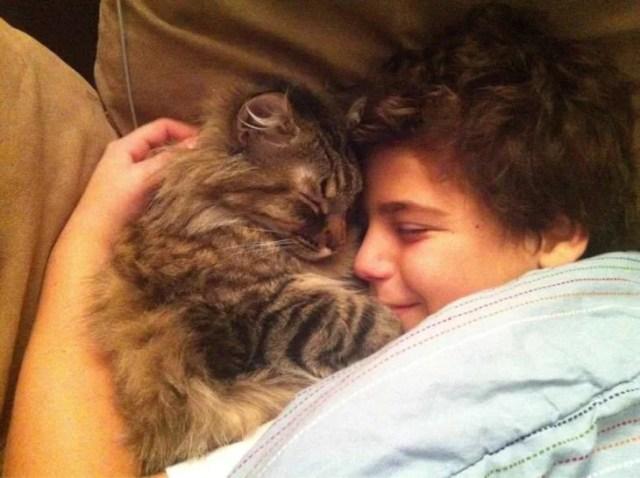 niño con su gatito dormidos