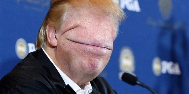 donald trump editado sin ojos ni nariz, con una boca que cubre toda su hacia