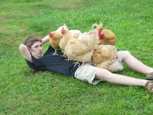 chico posando con gallinas