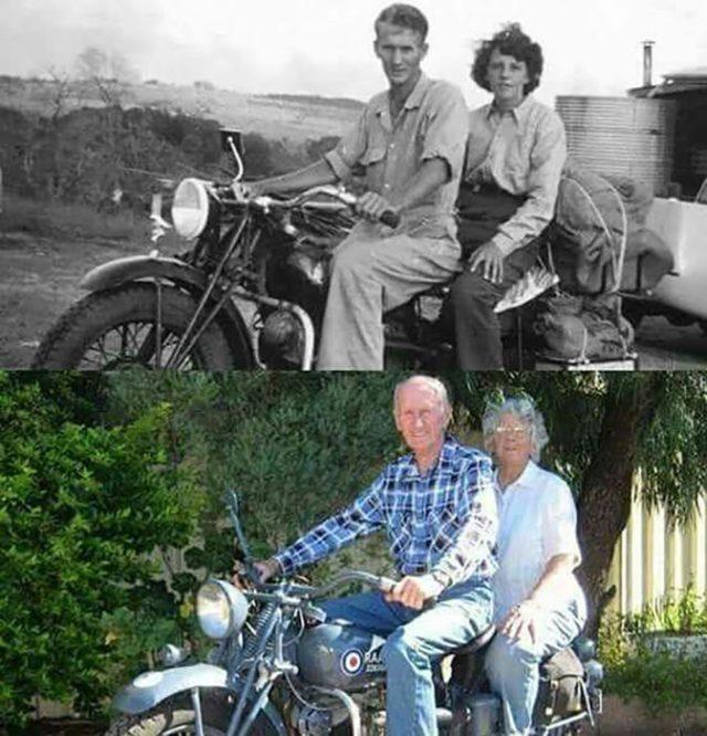 pareja en motocicleta antes y después