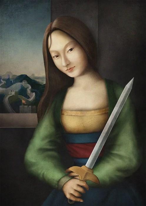 retrato renacentista princesa que habla con un dragon
