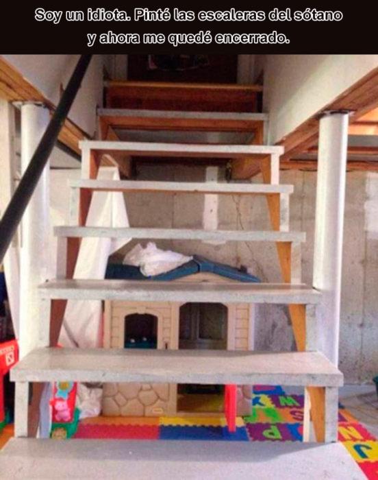 Errores - pintó escaleras sótano