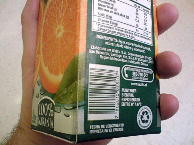 envase de jugo de naranja