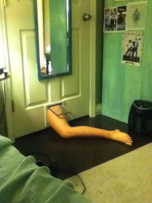 la pierna adentro del cuarto por la puerta del gato