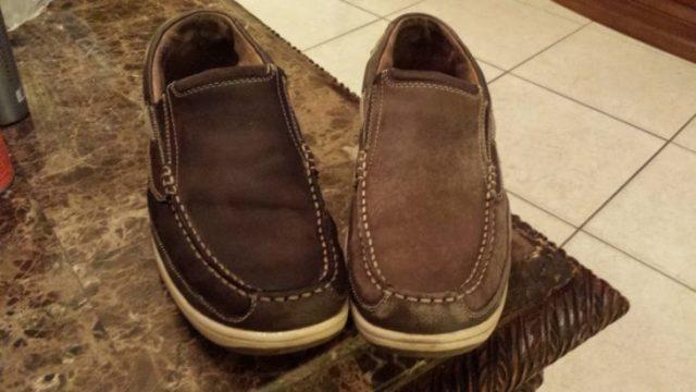 Zapatos antes y después limpiar