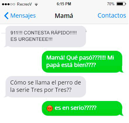 Mensajes graciosos mamá - 911 contesta