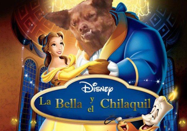 Poster de la bella y la bestia con chilaquil