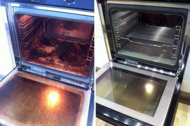 horno limpio antes y después