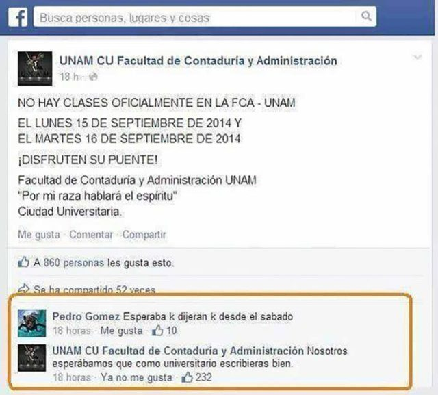 estado de facebook sobre un universitario con carencias de ortografía