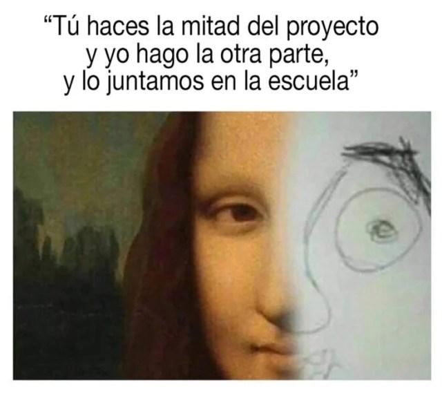meme sobre monalisa y dibujo de principiante