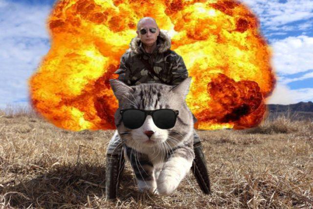 putin montado en un gatito permite atrás explosión